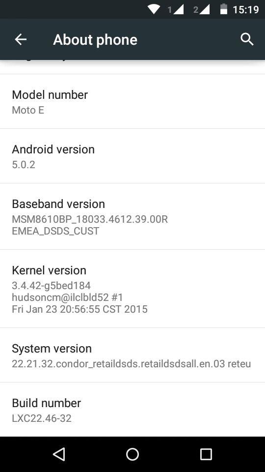 Moto E Lollipop Info Screen