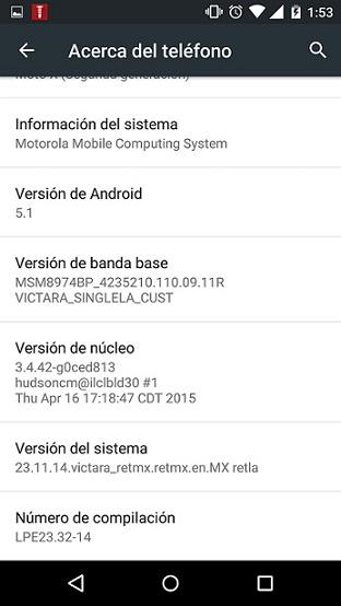 Moto X 2014 Android 5.1 (Mexico)
