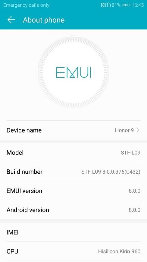 Download & Install Honor 9 B376 (8 0 0 376) Oreo Update