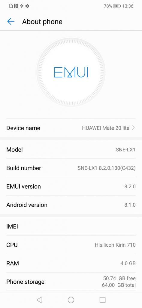 Download Huawei Mate 20 Lite B130 (8 2 0 130) Oreo Firmware Update