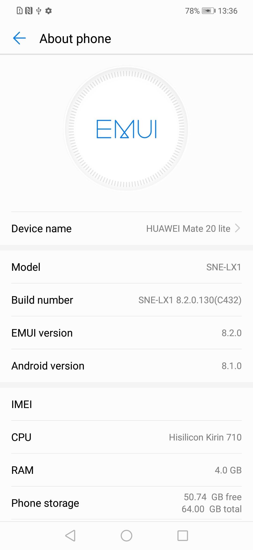 Huawei Mate 20 Lite 8.2.0.130 Firmware