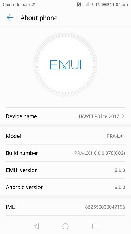 Huawei P8 Lite 2017 (8.0.0.378) Oreo