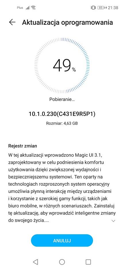 Honor 20 Pro EMUI 10.1 Firmware Update