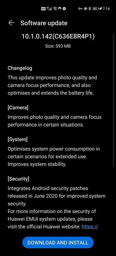 Huawei P40 Pro 10.1.0.142 Update