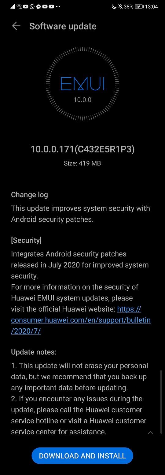 Huawei P20 10.0.0.171 Update